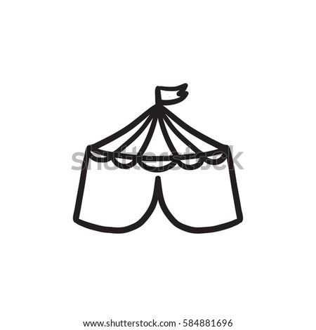 tent clipart black and white. circus tent vector sketch icon isolated on background hand drawn clipart black and white