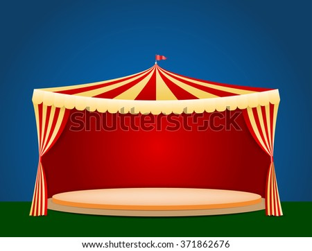 Circus tent with blank podium for your object or text - vector illustration - stock vector
