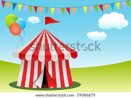 Circus tent with flags and balloons, vector illustration. - stock vector
