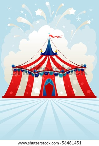 Circus tent with space for text