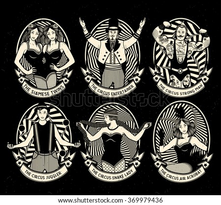 Circus. Vintage icons collection. The strong man, The siamese twins, The Circus Entertainer, The Circus Air Acrobat, The Snake Lady, The Juggler. Vector illustration. - stock vector