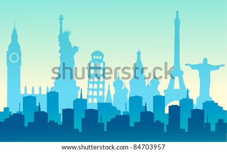 cities of the world - stock vector