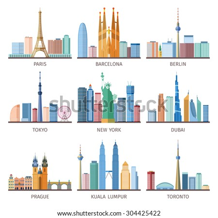 Cities skylines icons set around the world with Eiffel tower and Statue of Liberty flat isolated vector illustration  - stock vector
