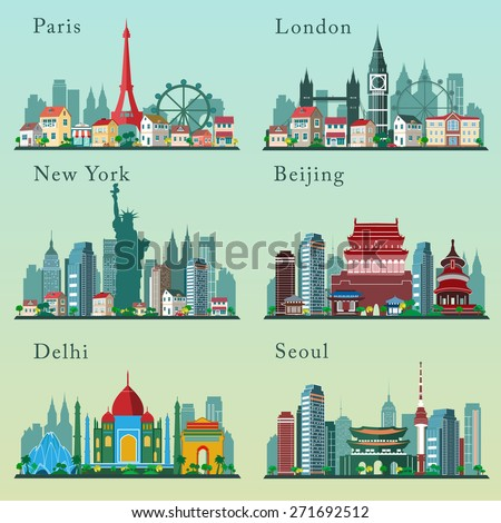 Cities skylines set. Vector flat landscapes - stock vector