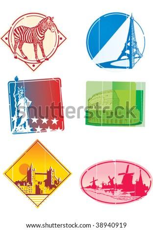cities stickers - stock vector