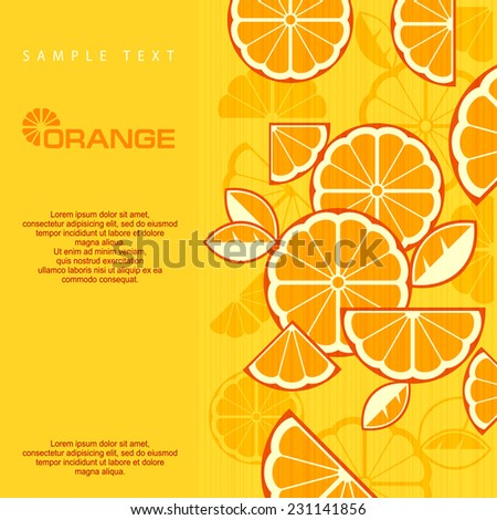 Citrus Fruit Slices background in yellow & text, vector illustration - stock vector