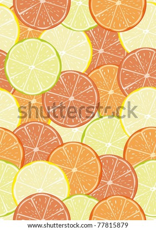 Citrus seamless pattern with some lemons, lime, oranges and grapefruit