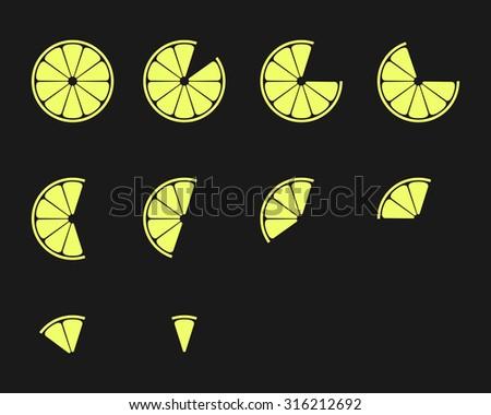 Citrus slices. Orange, lemon, lime and grapefruit slices vector icons set - stock vector
