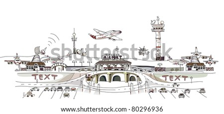 city airport illustration - stock vector