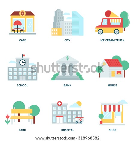 City and buildings vector icons set modern flat style - stock vector