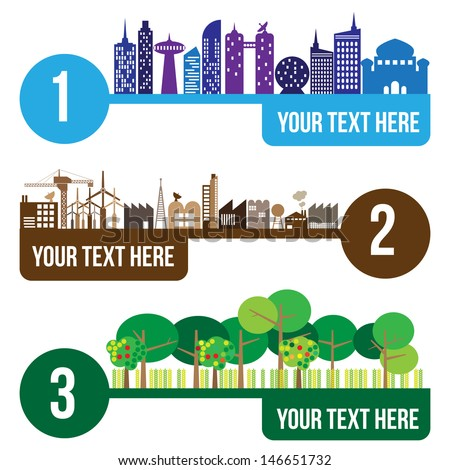 City and forest infographic, vector format - stock vector