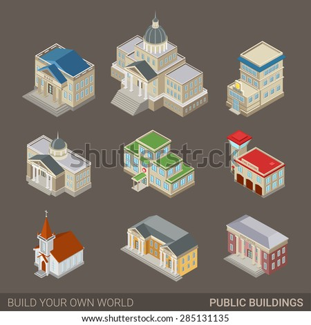 City architecture public government buildings flat stock for Build your own home website