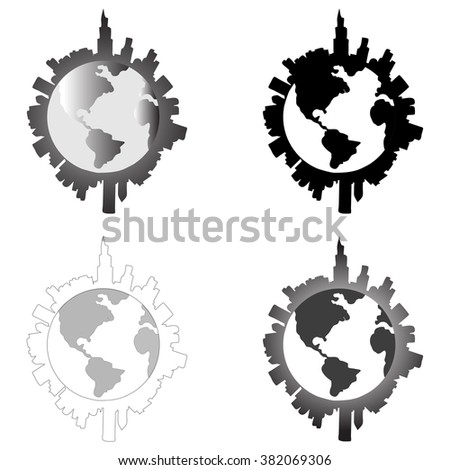 City around Earth. Vector illustration.