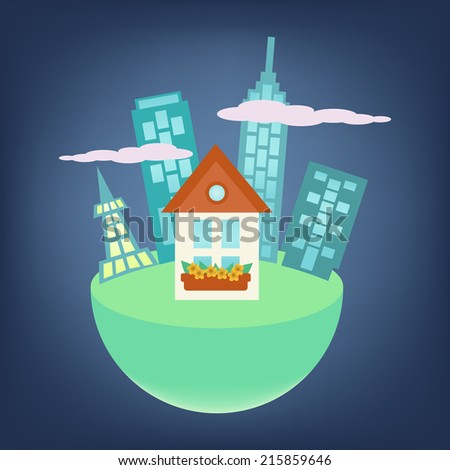 City around small house on a globe - stock vector