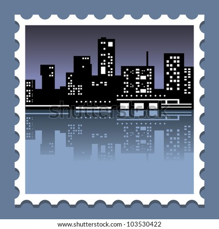 city at night on a postage stamp - stock vector