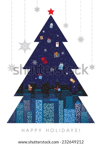 City at night shaped as Christmas tree. Colorful gift boxes in sky are Christmas tree ornaments at the same time. Holidays spirit concept. Vector EPS 10 illustration - stock vector