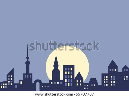 City at night, vector background with copy space for your text - stock vector