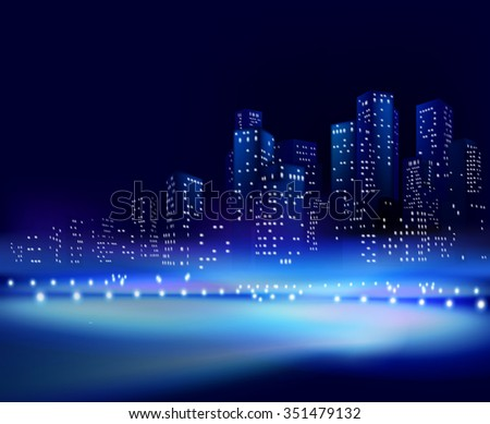 City at night. Vector illustration - stock vector
