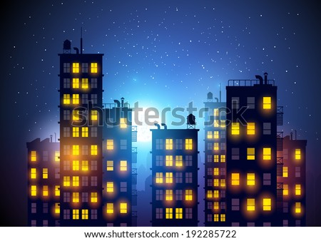 City at night. Vector illustration of apartment blocks in a city at night. - stock vector