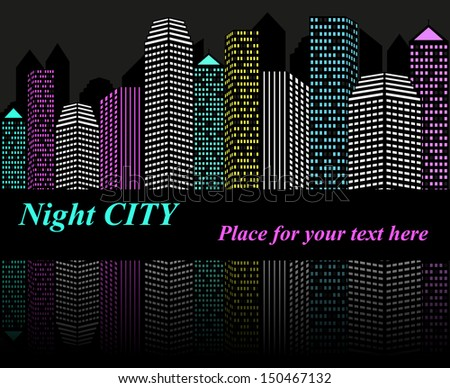 City at night with lights, vector background  - stock vector