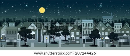 City at night with moon in the background. - stock vector