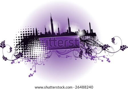 city background for text - stock vector