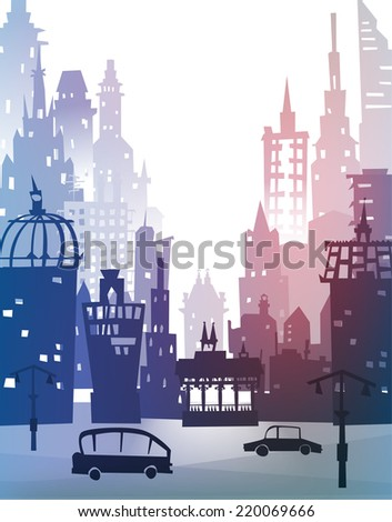 City background made of building silhouettes - stock vector