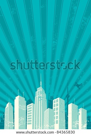 City Background: Vintage city background. No transparency and gradients used. A4 proportions. - stock vector