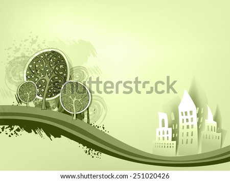 City background with trees. Paper stickers effect - stock vector