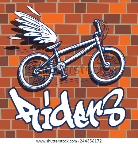 city bike with a wing on a red brick wall  background, a doodle sketch funky style vector illustration. - stock vector