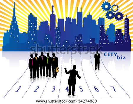 City Biz Illustration - stock vector