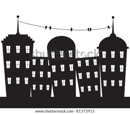 City black and white - stock vector