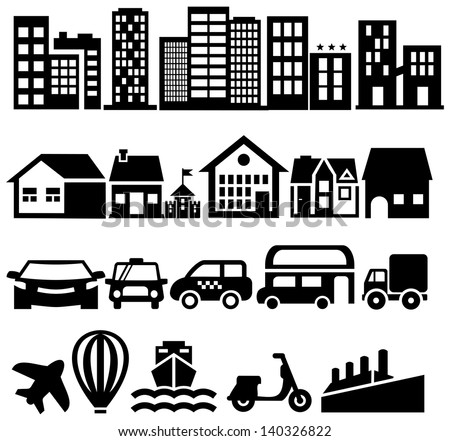City black vector icons - stock vector