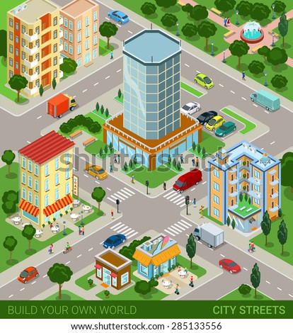 City block streets transport inhabitants concept. Modern trendy flat 3d isometric info graphic. Street buildings cars vans ice cream cafe restaurant business center park. Creative people collection. - stock vector