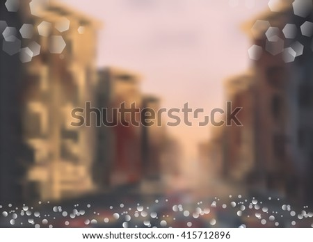 City blurred lights background - stock vector