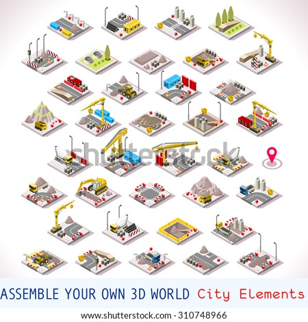 City Building Construction Site Tiles MEGA Collection Warehouse and Other Isometric 3d Urban Map Elements Set of Game Tiles - stock vector