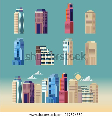 city building. downtown landscape - vector illustration - stock vector