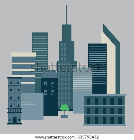 city building. downtown landscape with a small tree in the middle of the picture - stock vector