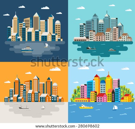 City building in a flat style of the houses and vector illustration - stock vector
