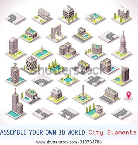 City Buildings and Landmarks Tiles MEGA Collection Shops and Other Isometric 3d Urban Map Elements Set of Game Tiles - stock vector