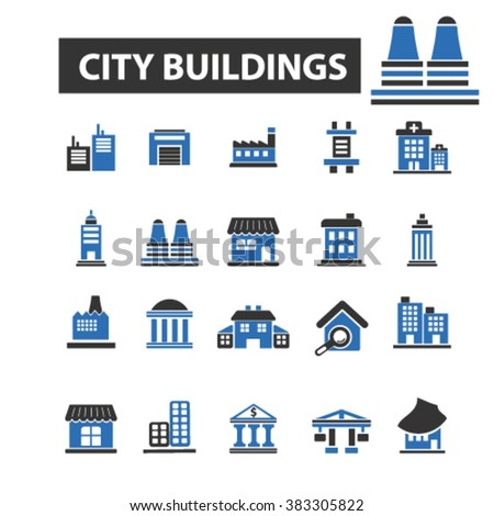 city buildings icons, city buildings logo, city buildings vector, city buildings flat illustration concept, city buildings infographics, city buildings symbols,   - stock vector