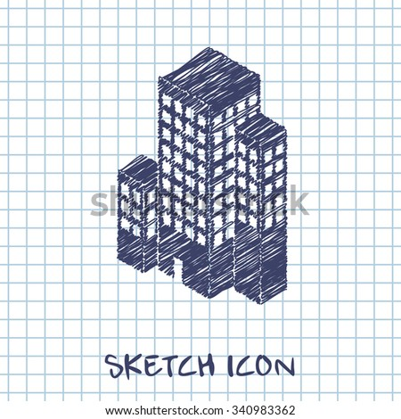 city buildings isometric 3d icon - stock vector