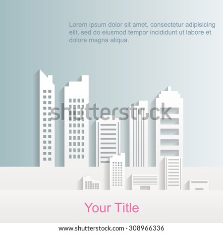 City Buildings With Flat Design and Place for Text EPS 10 Vector