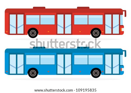 City Bus In Red And Blue Color