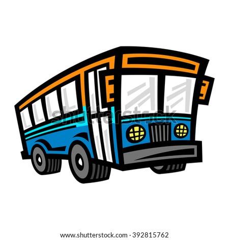 Wonderful City Bus Transit Vehicle Vector Icon