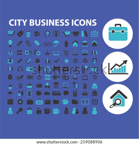 city business, work, finance icons, signs, illustrations concept design set, vector - stock vector