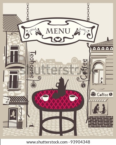 city cafe with table and hot tea - stock vector