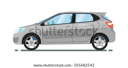 City car isolated on white background. Vector hatchback car.