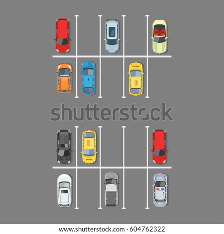 city car parking vector illustration top view of parking zone with a variety of cars