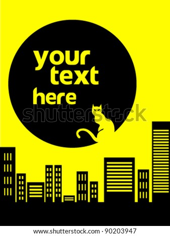 City cat abstract background - stock vector